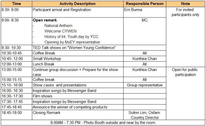 Agenda, Int youth day