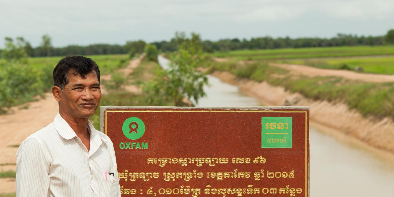 Thanks to the rehabilitation of twoirrigation canals, 700 local households can now access water and mitigate the effect of the droughts. During rainy season, the canals also help regulate floods. Oxfam rehabilitated the canals to support Takeo communities mitigate the effects of climate change.
