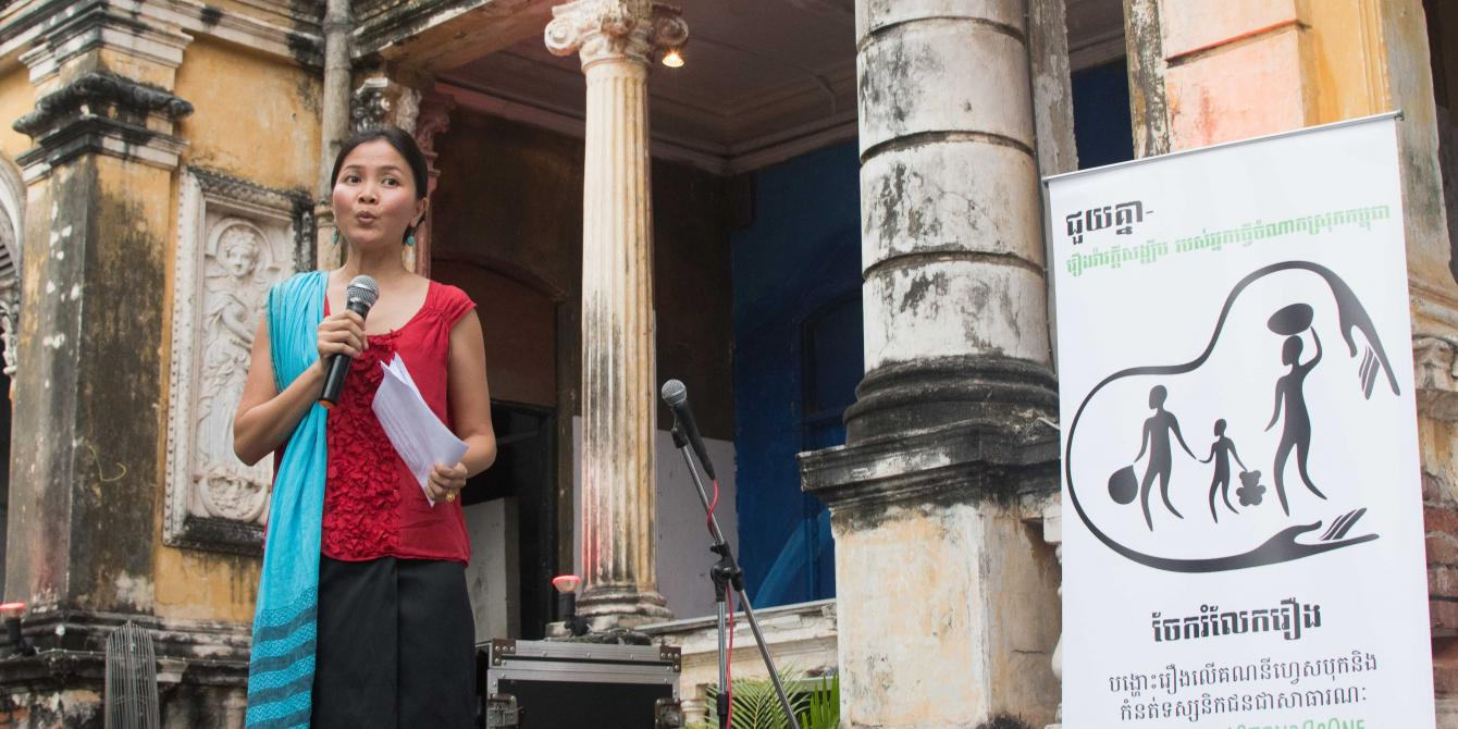Oxfam Country Director, Solinn LIm, during the launch of JuiKnia campaign in Phnom Penh on 31 March 2017.