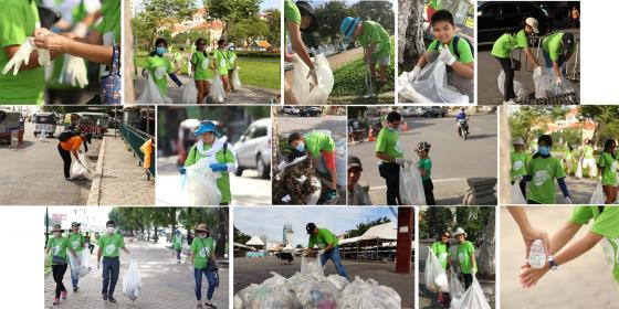 Say no to plastic! Oxfam team cleans the street
