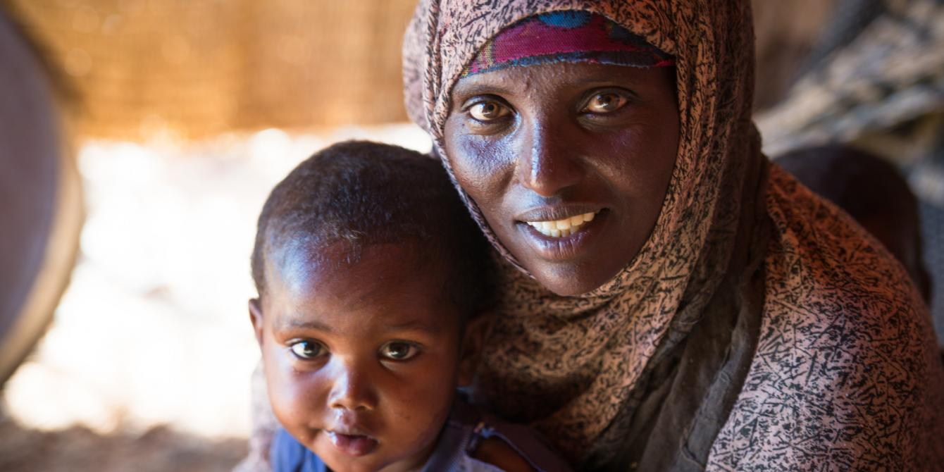 A woman and her son at the Karashaka IDP camp in Somaliland. Allan Gichigi/Oxfam