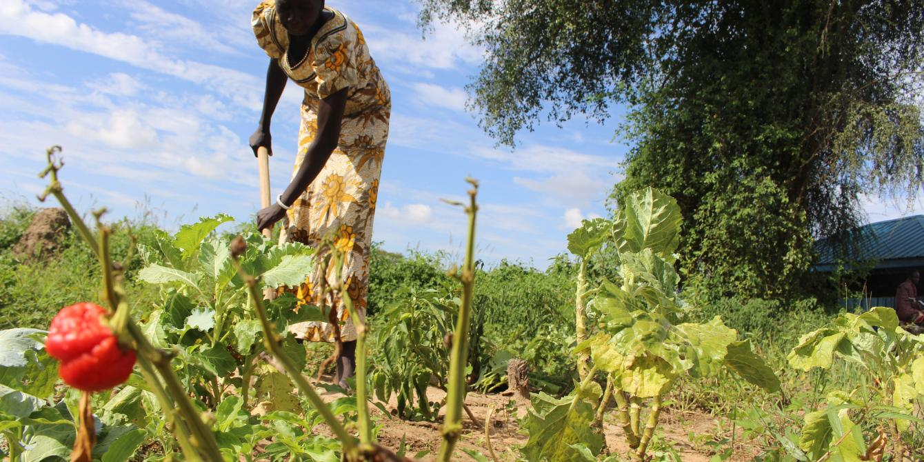 Rebecca in her vegetable farm in Bor, South Sudan. Tim Bierley/Oxfam