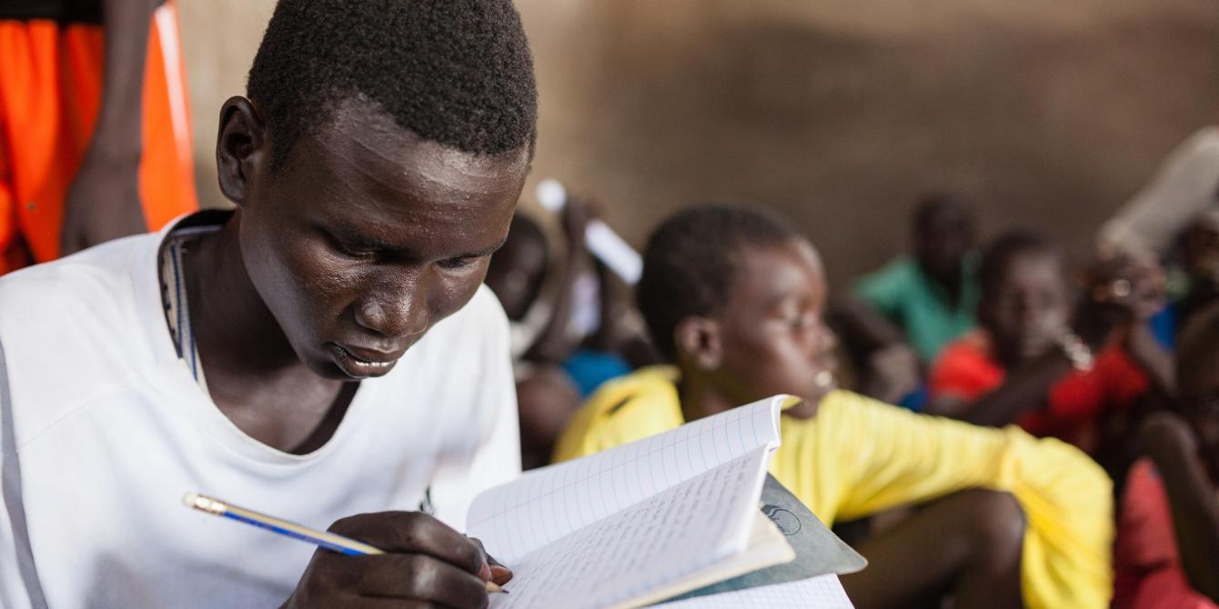 Former child soldiers in South Sudan learning how to read and write. OXFAM