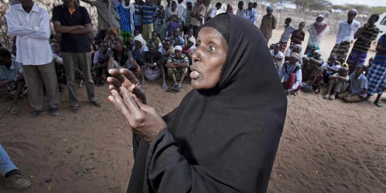 Khadija at a community meeting in eastern Somaliland. (Oxfam)