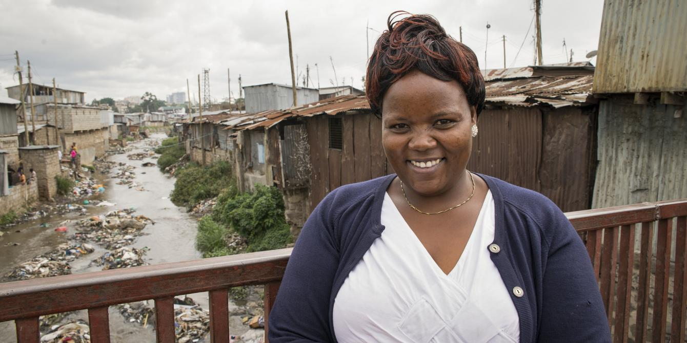 Doreen Muthoni, 38, a small scale trader, in Mukuru, an informal settlement in Nairobi, Kenya. Photo Credit: Katie Nelson