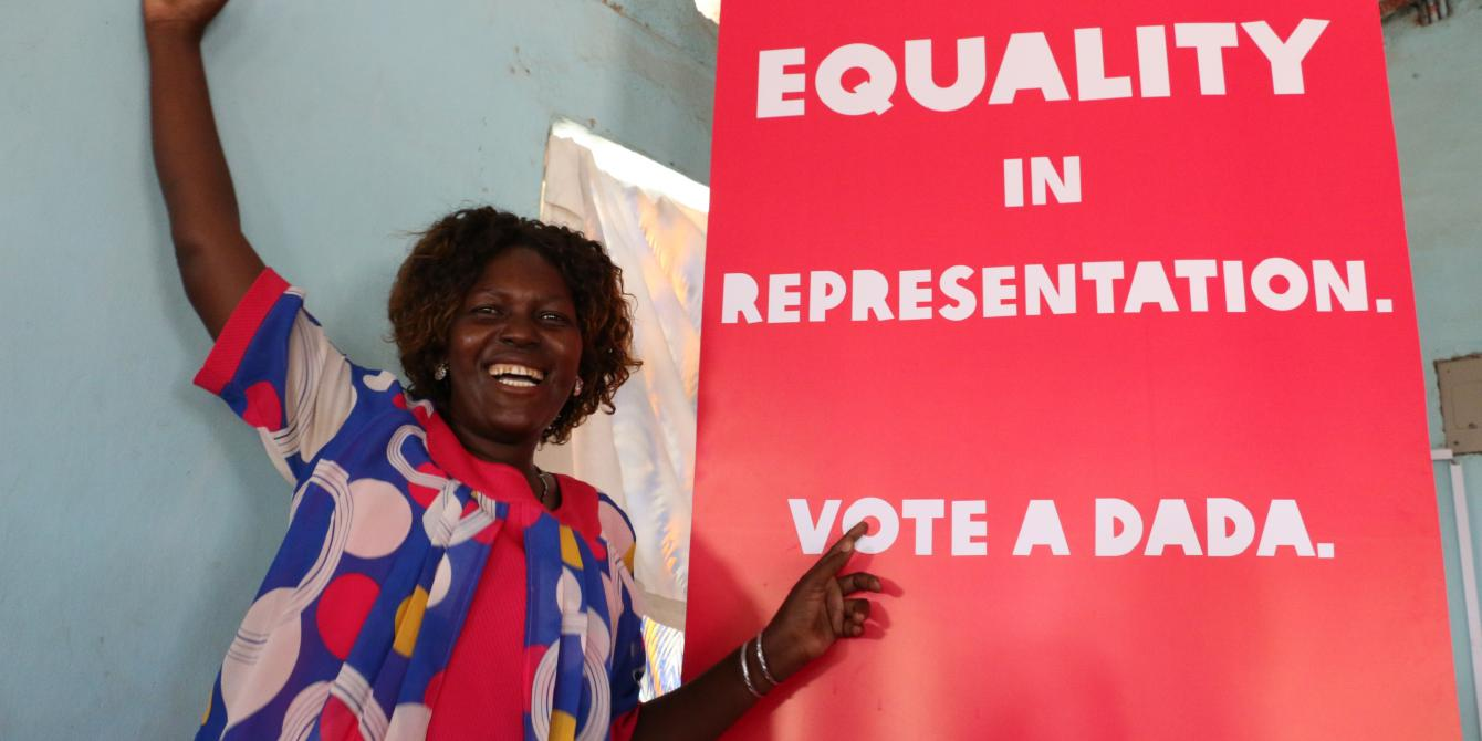 Emmy Apoo posing for a photograph after the launch of #VoteADada campaign in Turkana County. Photo/Joyce Kabue/Oxfam