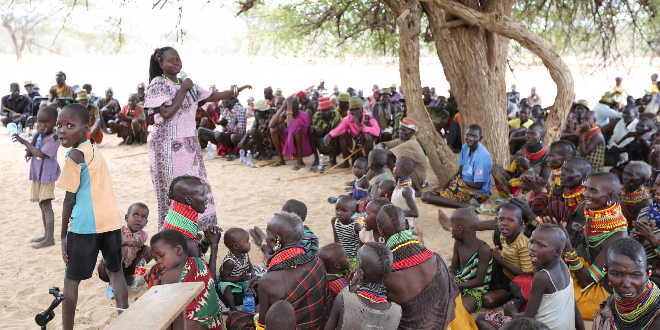 Community baraza on public participation in the oil exploration activities in Lokichar, Turkana. Photo Credit: LighBox Limited