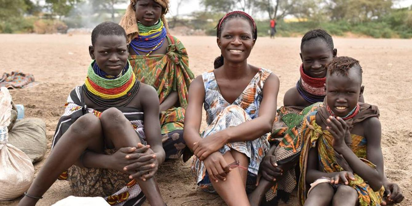 Rose Tino with Turkana women during a drought response field visit
