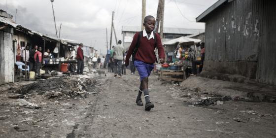 Victor Ondieki, 10, leaves his small home in Mukuru informal settlement, in Nairobi, Kenya, to walk to school at the Jaombi Foundation School. Photo Credit: Sam Tarling