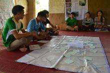 River Mapping workshop for students.  Photo by:  Thome, Oxfam in Laos