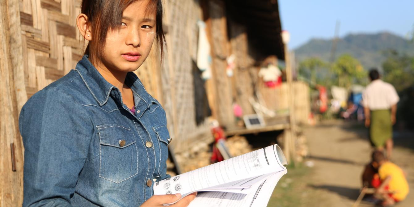 Eighteen-year-old peace and civic education graduate Bawk Nu Aung.(Photo by Dustin Barter)