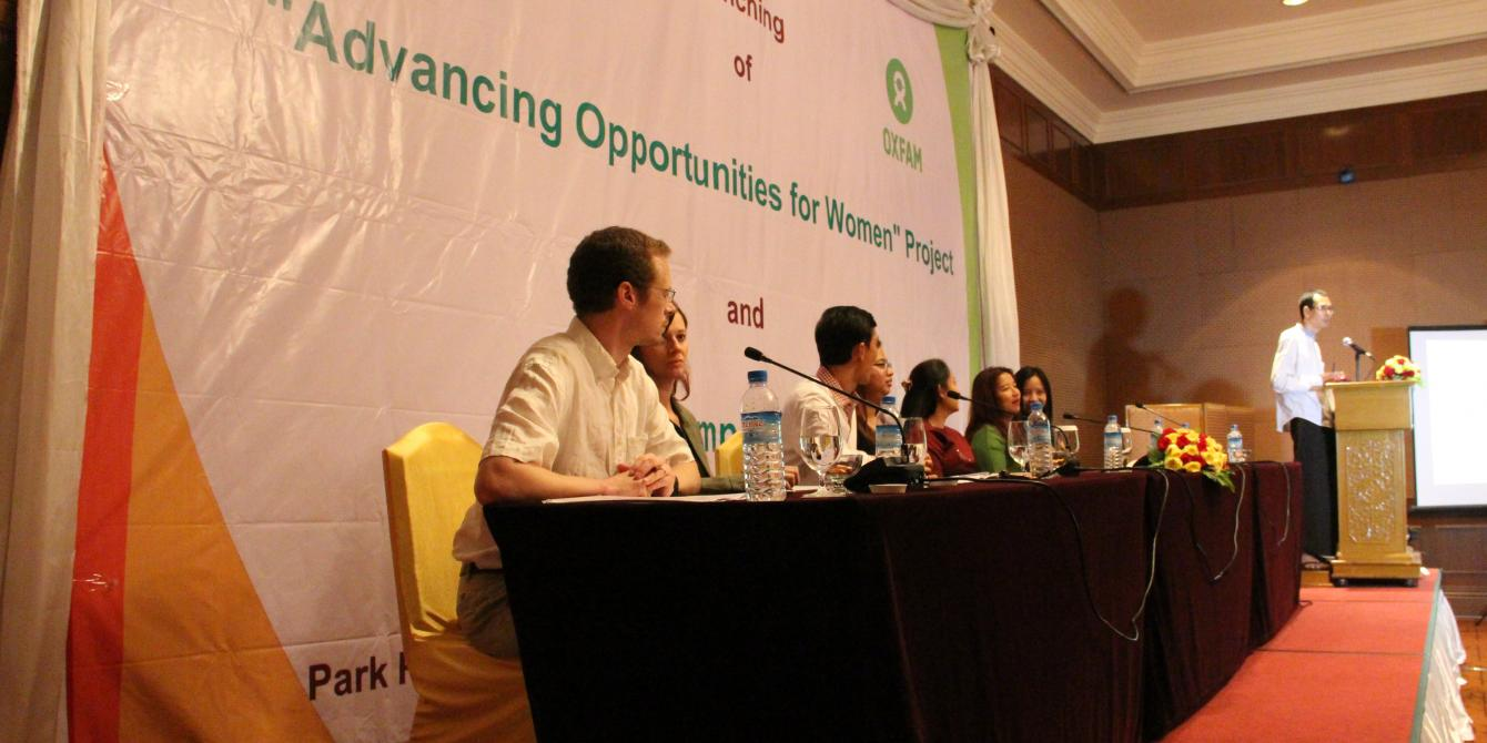 Panel at the press conference. Famous song composer Mr. Myint Moe Aung is explaining about the song composing contest. Photo by: Oxfam