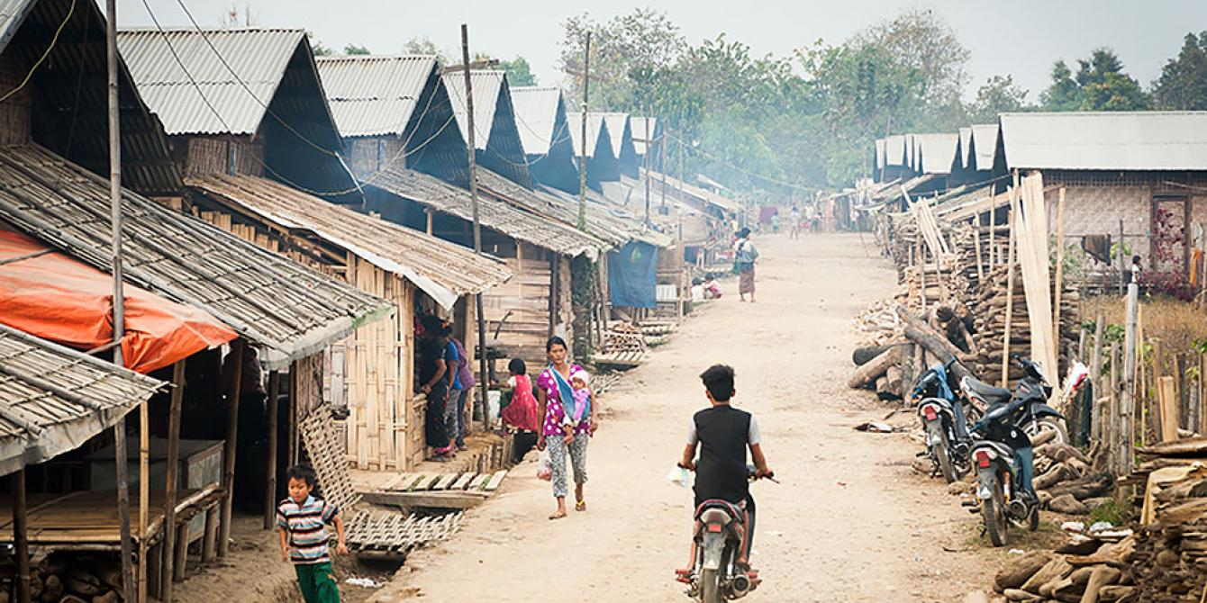 Main road and houses in the IDPs' camp in Kachin. This is where Oxfam is doing humanitarian response to meet people's needs. Photo by: David Hempenstall/ Oxfam