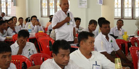CSO respresentative is discussing his concern during the public hearing forum. Photo by: Oxfam in Myanmar