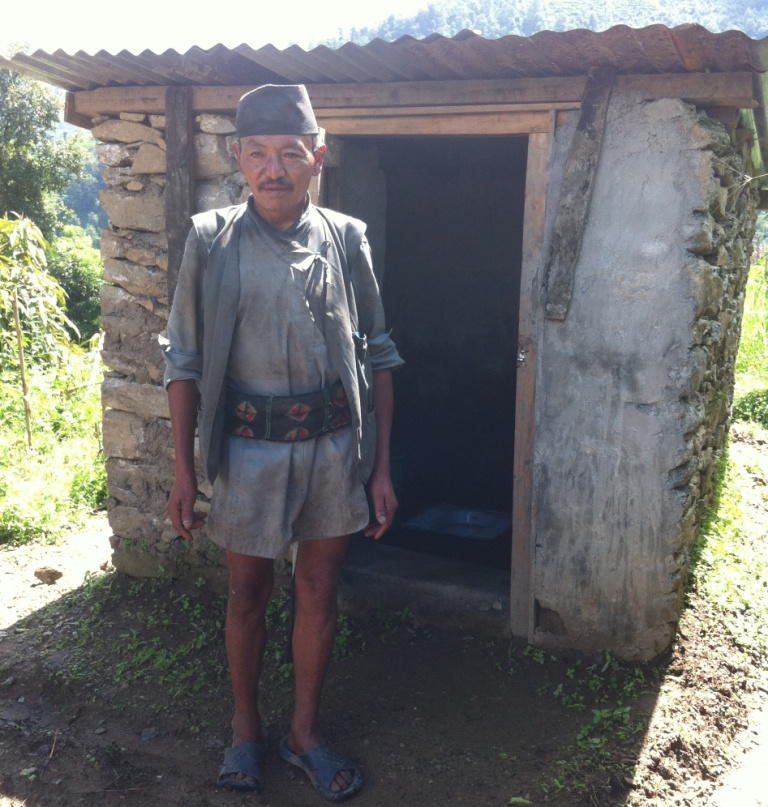 Surendra Tamang's newly constructed toilet in Nuwakot