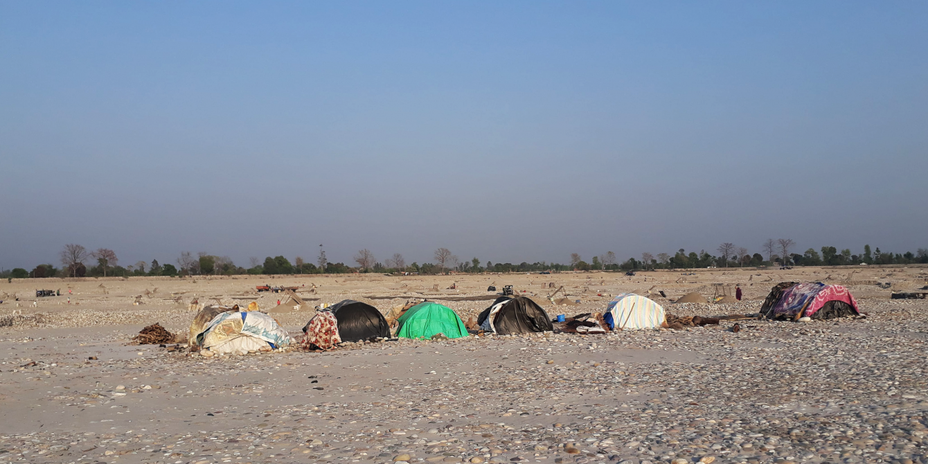 Camps set up by people to crush stones