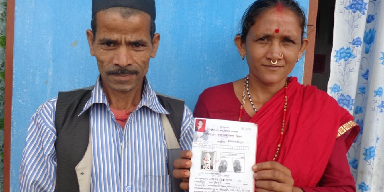 Dura Devi Saud and her husband Khadga Singh Saud proudly show their JLO certificate - Credit: CSRC