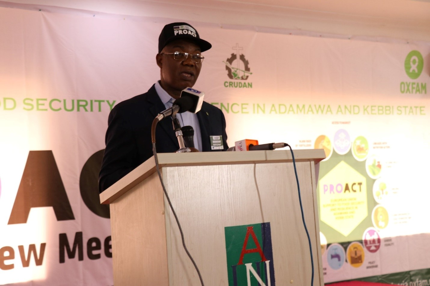 Constant Tchona, Interim Country Director, Oxfam in Nigeria delivers remarks at the event. Photo: Oxfam/James Bigila