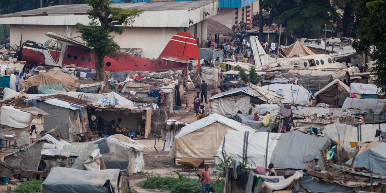 Makeshift camp hosting thousands of internally displaced persons at Bangui M'Poko International Airport in Central African Republic