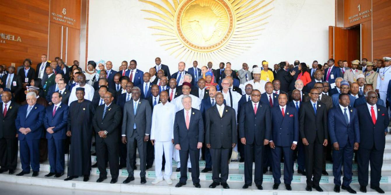 Heads of States joined by the UN Secretary General Antonnio Guterres after the official opening of the 2018 AU Summit