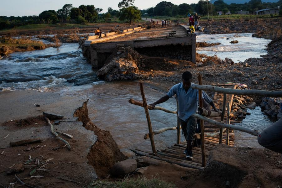 Damaged bridge in Zimbabwe