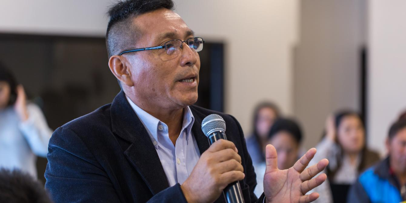 Intervención de Policarpo Sánchez, miembro de FECONAU (Federación de Comunidades Nativas del Ucayali y Afluentes).