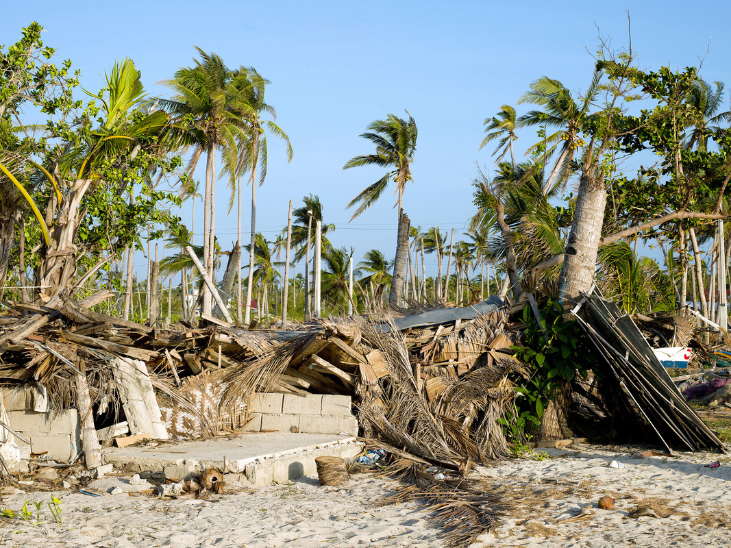 The remains of Imelda Esgana's house and her fish-drying equipment following typhoon Haiyan (Yolanda) on Bantayan Island.  (Photo: Tessa Bunney)