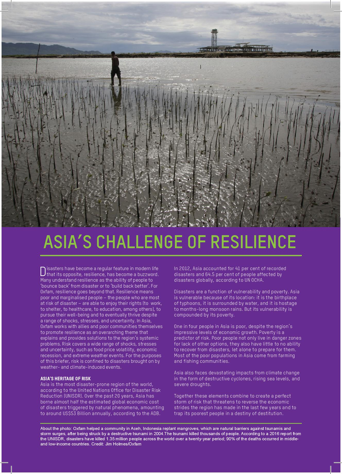 Oxfam briefer - Disaster risk reduction, resilience