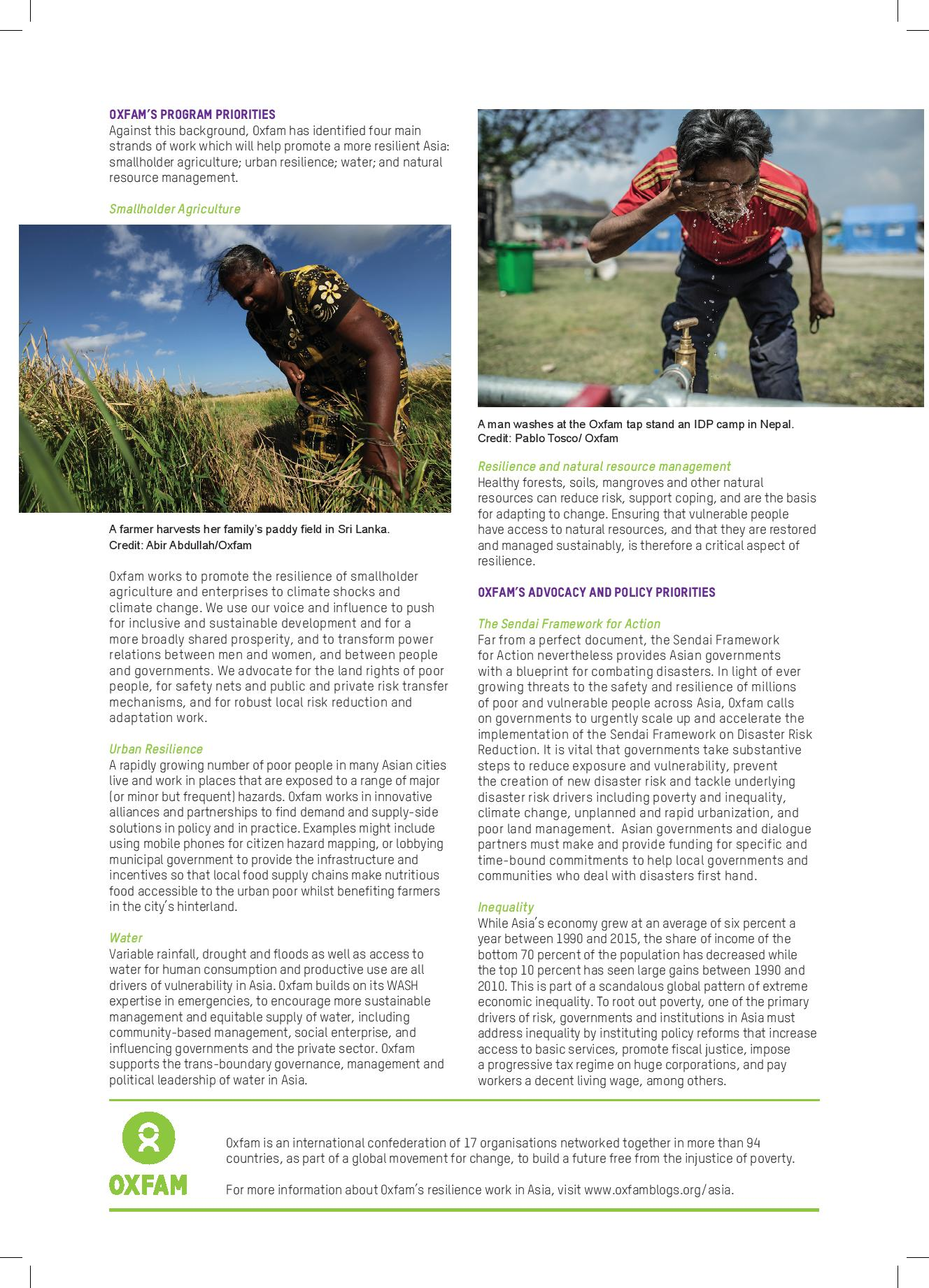 Oxfam briefer - Disaster risk reduction, resilience - page 2