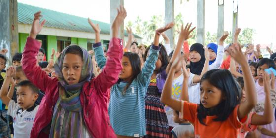 Children participate in a psychosocial support session in Saguairan, Lanao del Sur