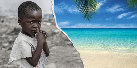 boy experiencing poverty contrast luxury resort