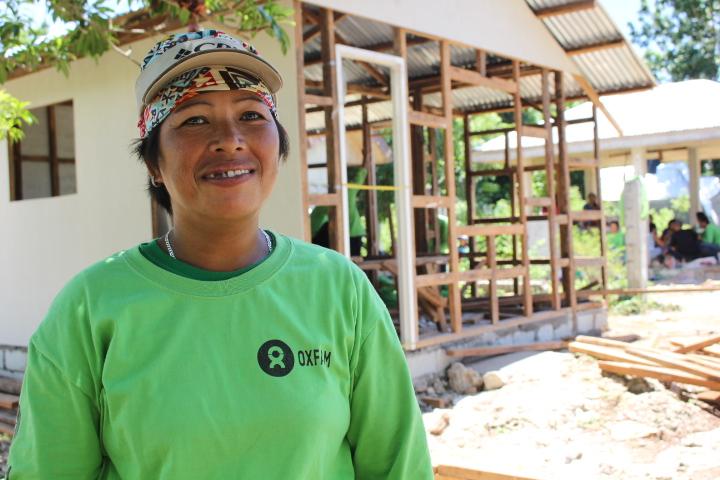 Venus Cabrera poses at the workshop site (Photo:Genevive Estacaan/Oxfam)