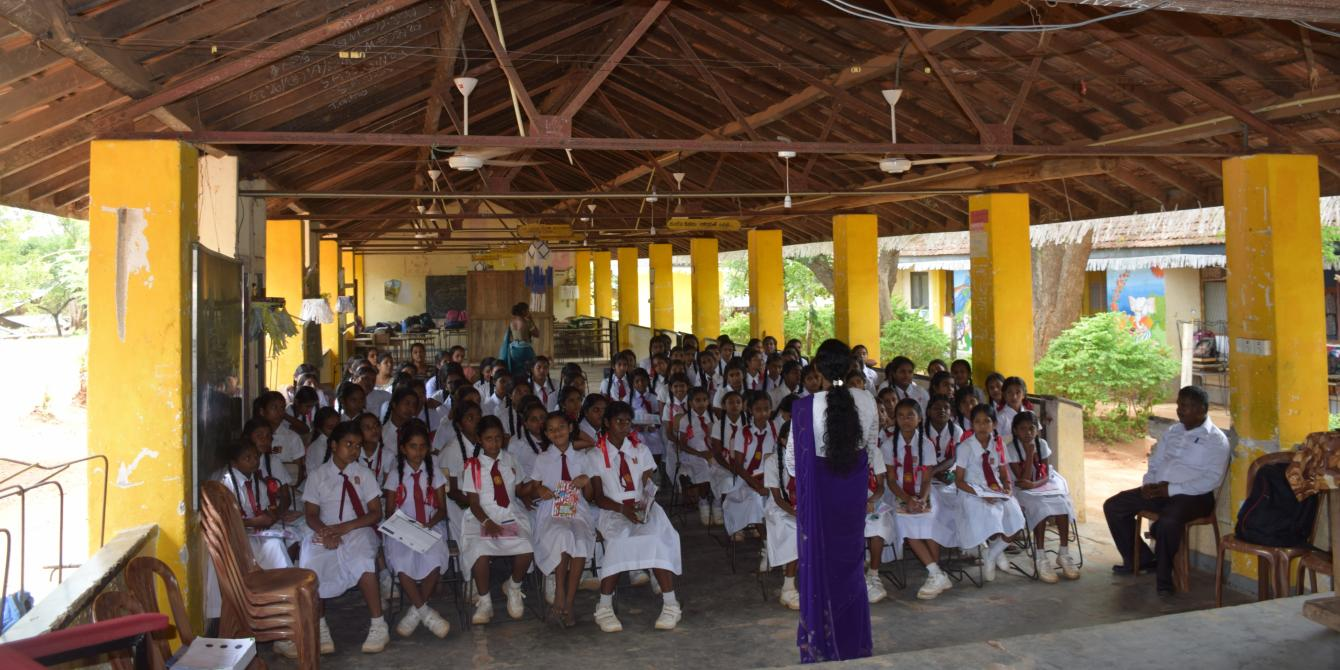 Female students participate in an awareness session