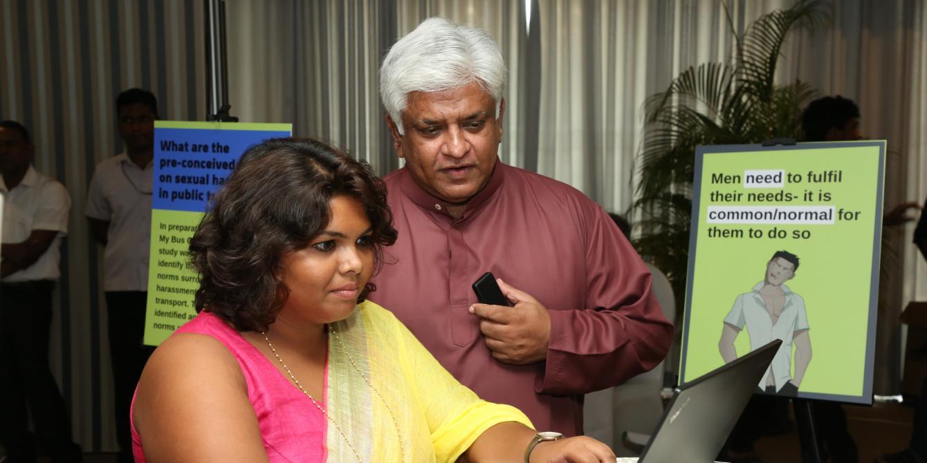 Minister Arjuna Ranatunge signing the online pledge