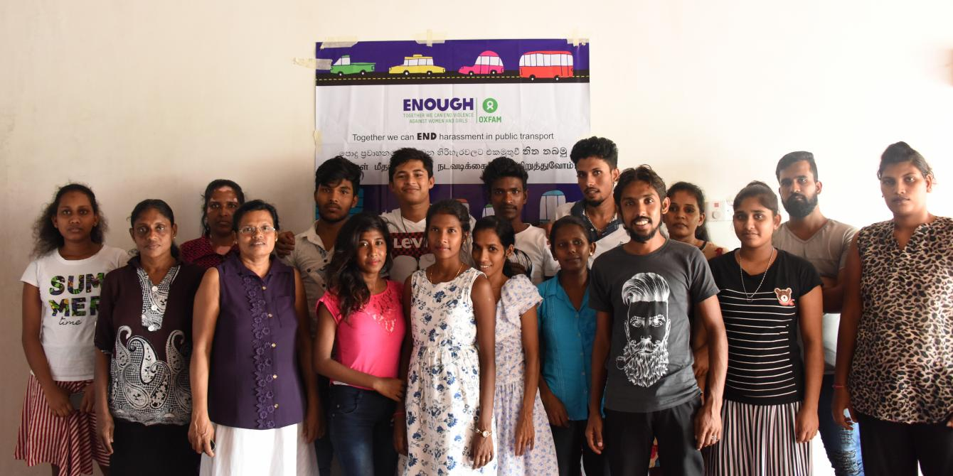Young Sri Lankan men and women at the ENOUGH workshop in Katunayake