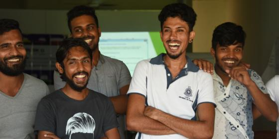 Smiling Sri Lankan youths