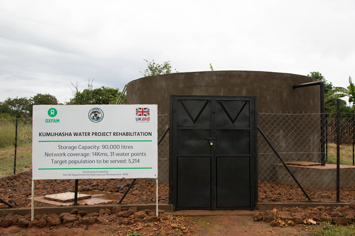 A rehabilitated water storage tank at the Kumuhasha village now serves water to over 5,000 Tanzanians living in the host village near the Nduta refugee camp.
