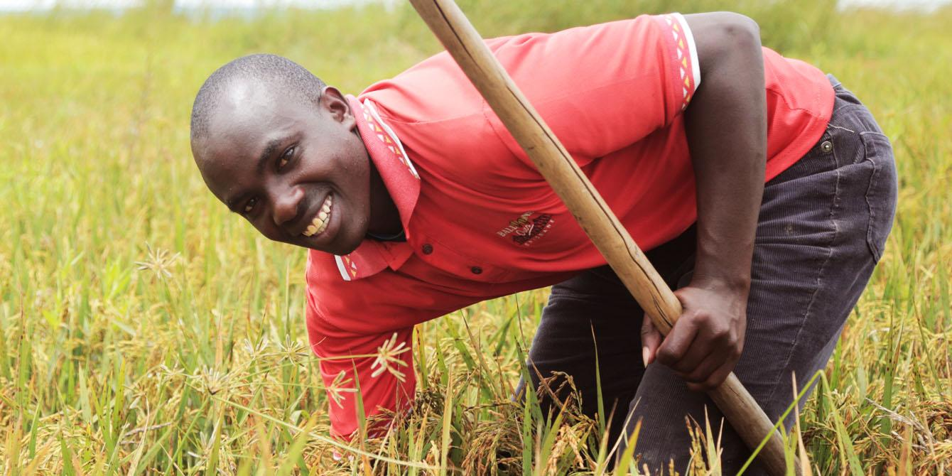 A proud rice farmer Edward working at his farm. Photo: Bill Marwa/Oxfam