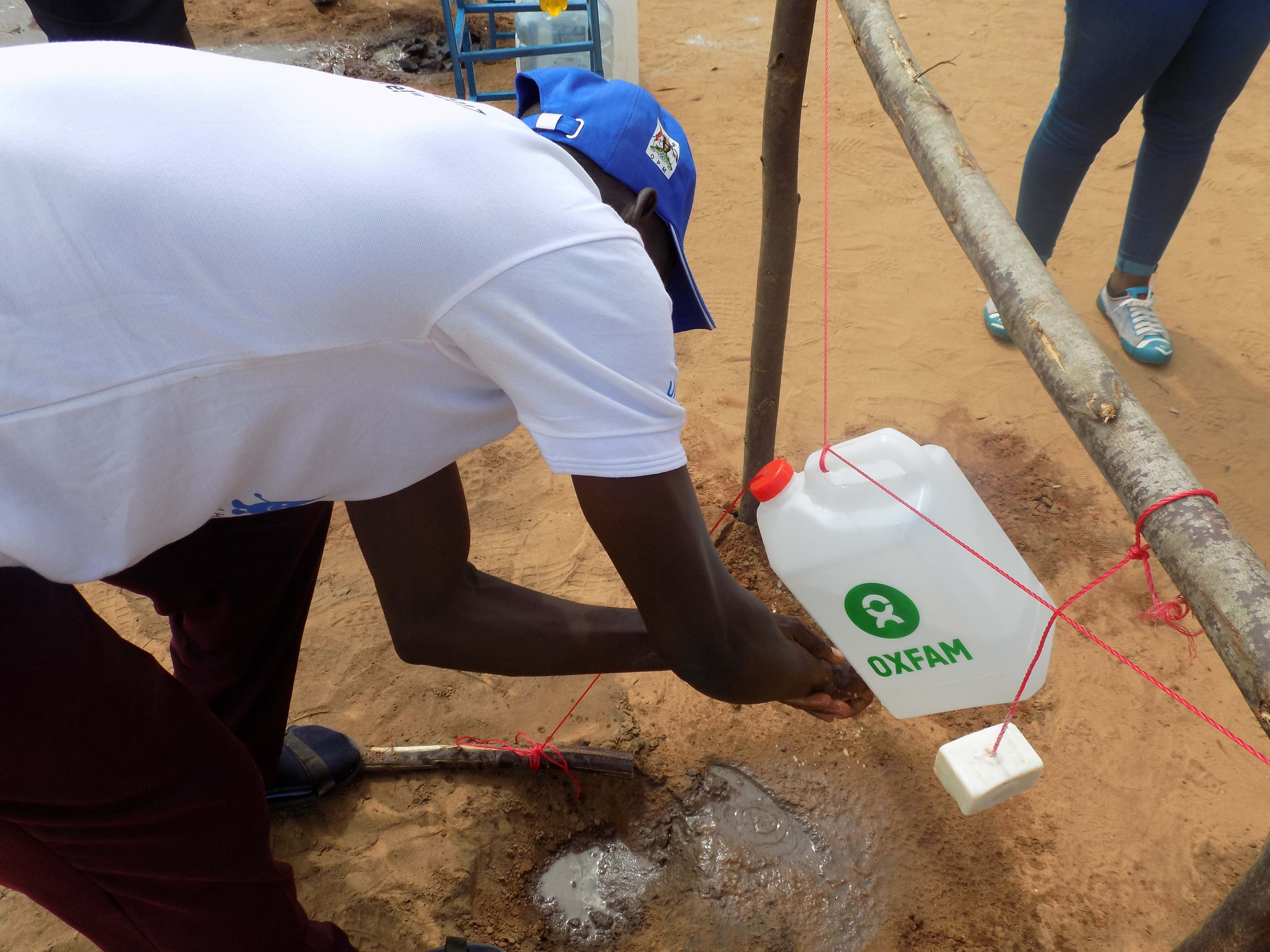 Hand washing is a very important component that hygiene promoters emphasize to the refugees.