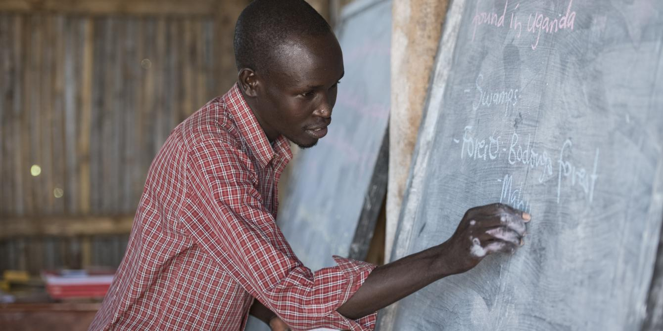 Omara David Okora is a trained teacher at World View Primary School and a refugee from South Sudan. Photo:Emmanuel Museruka/Oxfam