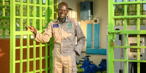 Veterino is a pump attendant at the motoraised water system plant in Imvepi settlement. Photo credit:Oxfam