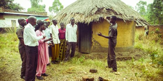 A community member  engaging community leaders on issues affecting him and the community. photo credit: Oxfam