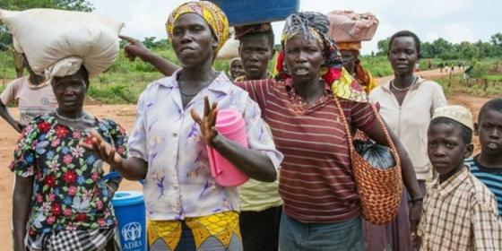 Women at the Bidi Bidi refugee settlement in Uganda in May 2017 voice their concern at the 50 percent cut in cereal rations each person was receiving.