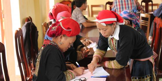 Red Dao women at a workshop. Credit: Oxfam in Vietnam