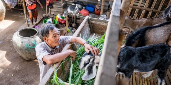 Farmer Hai with his goat in Ben Tre province. Credit: Oxfam Vietnam
