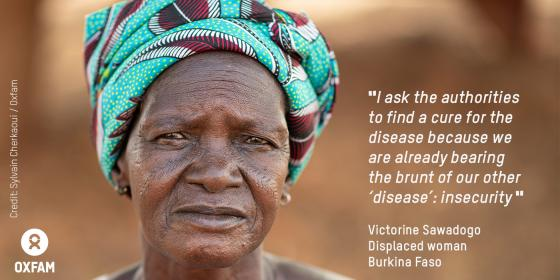 Victorine fled the violence, lost her husband and is the head of a large family. Credit: Sylvain Cherkaoui / Oxfam